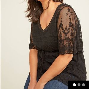 Lane Bryant Embroidered Mesh Top